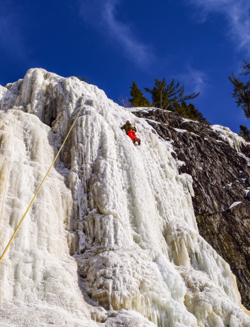 Ice climbing at Cascade Falls, Orient Bay