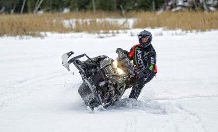 A snowmobile riding a trail near Thunder Bay