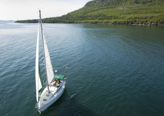 A sailboat near the sleeping giant