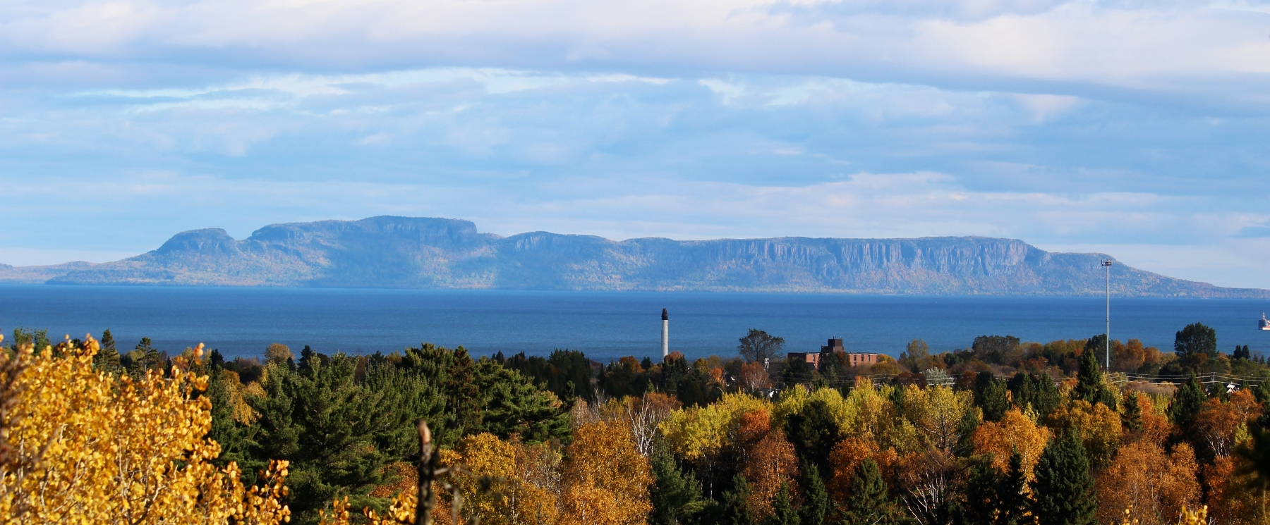 Sleeping Giant from MOunt McKay scenic lookout in Fall