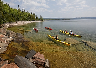 kayaks in lake superior