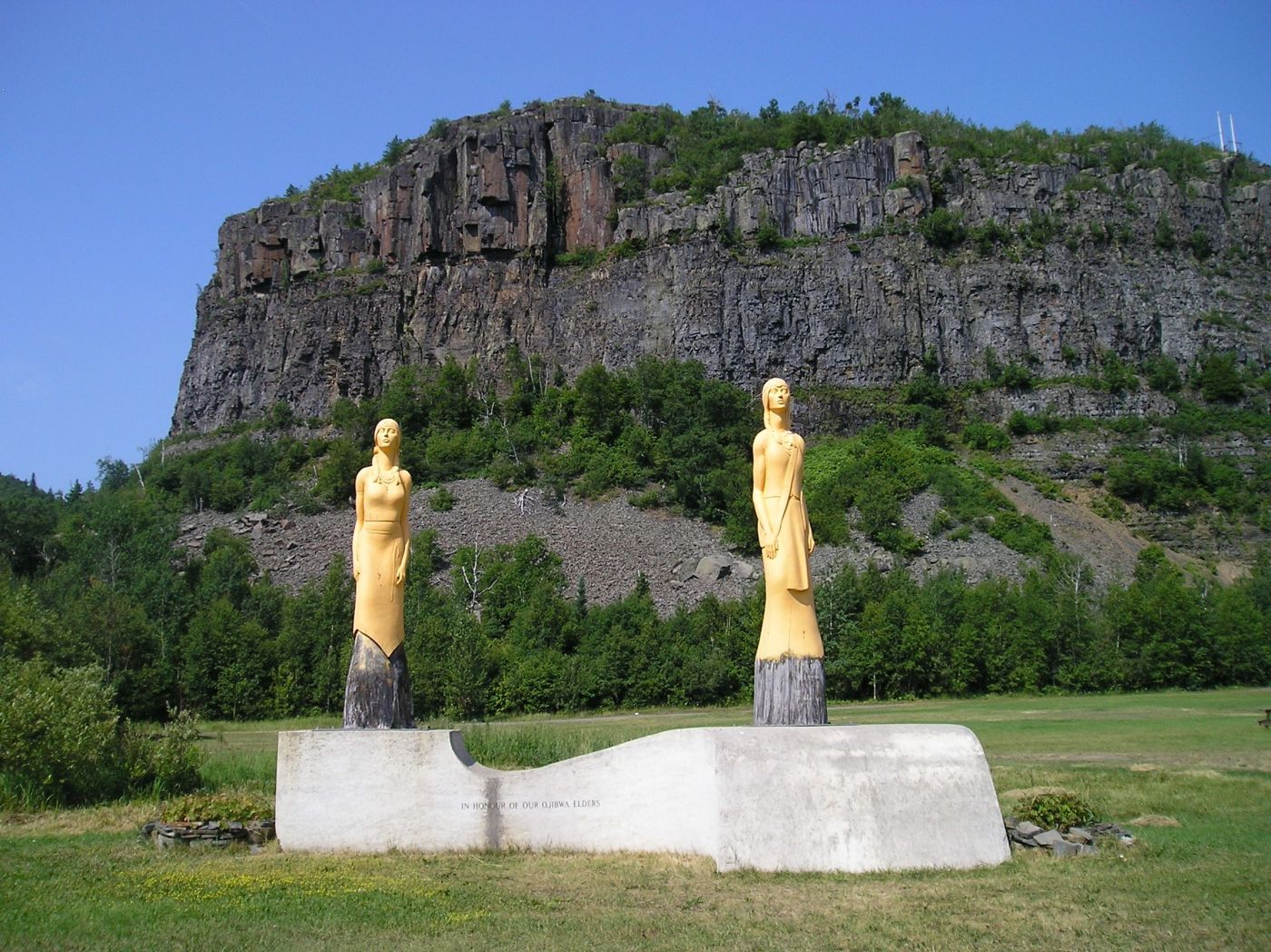 Statues at pow wow grounds at Anemki Wajiw (Mount McKay)